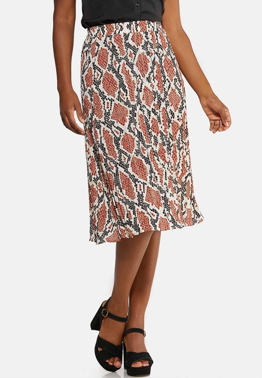 Pleated Snakeskin Print Skirt