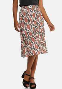 Pleated Snakeskin Print Skirt