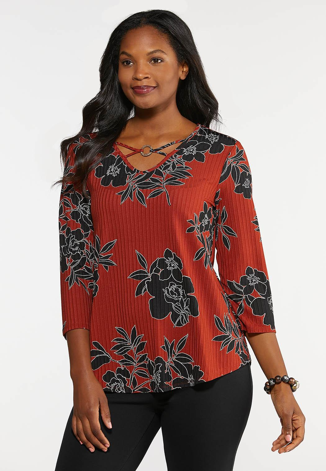 Plus Size Ribbed Floral Top