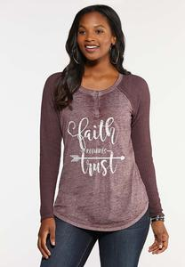 Plus Size Faith And Trust Henley Top