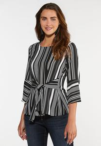 Tie Front Black White Top
