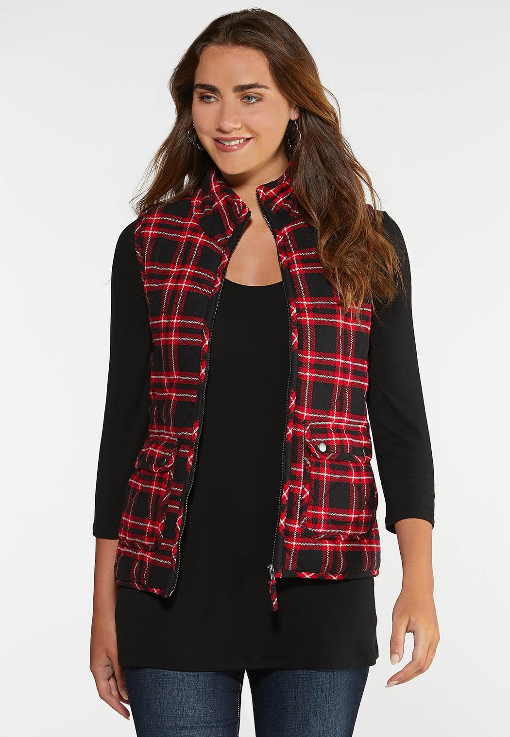 Red Plaid Puffer Vest