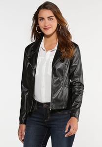 Black Faux Leather Moto Jacket