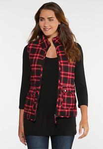 Plus Size Soft Plaid Puffer Vest