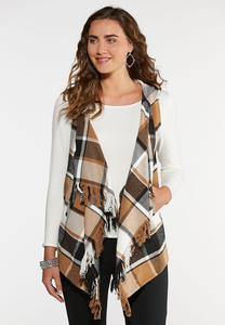 Plus Size Neutral Plaid Vest