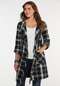 Plus Size Plaid Fringe Duster Jacket