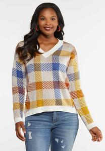 Plaid V-Neck Sweater