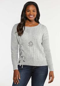 Lace Up Cable Knit Sweater
