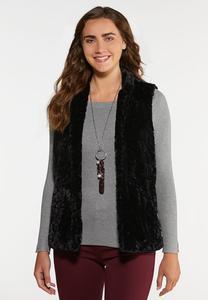 Plus Size Black Faux Fur Vest