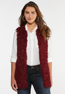 Plus Size Wine Eyelash Vest