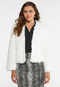 Plus Size Shaggy Fur Crop Jacket