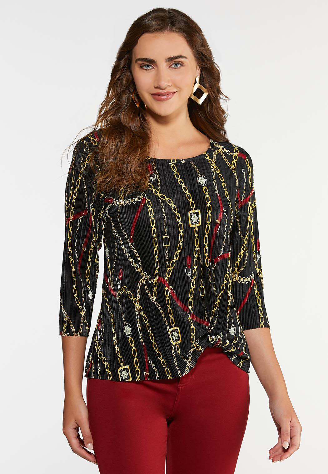 Pleated Chain Print Top