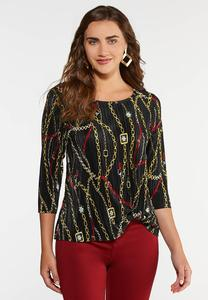 Plus Size Pleated Chain Print Top