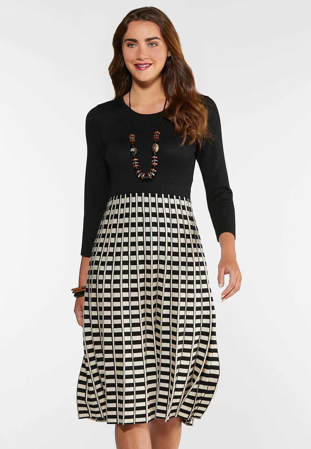Plus Size Pleated Sweater Dress Plus Sizes Cato Fashions