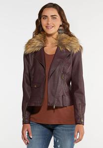 Fur Trimmed Moto Jacket