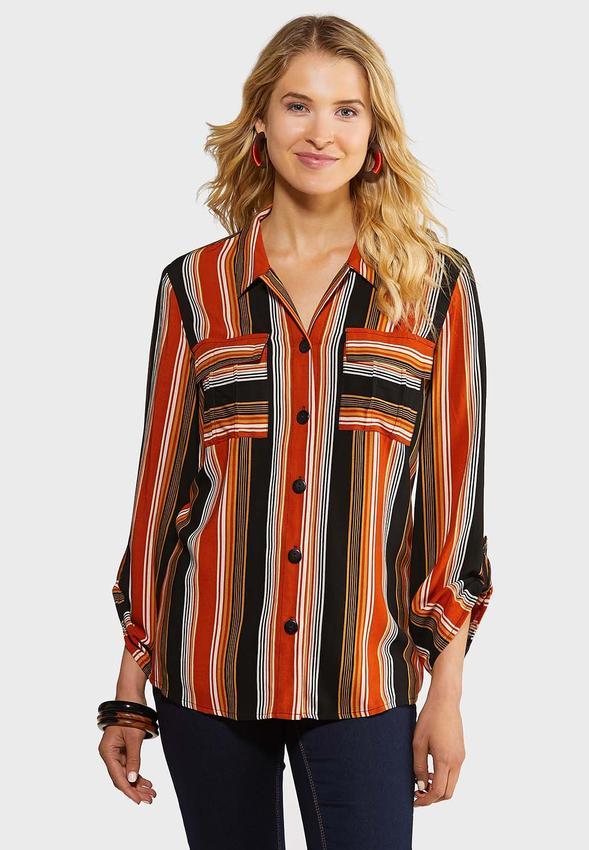Plus Size Rust Stripe Shirt