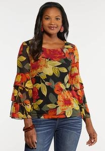Plus Size Tiered Sleeve Mesh Top