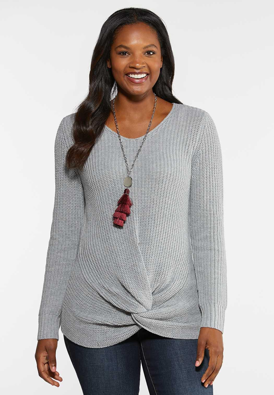 Twist Front Pullover Sweater