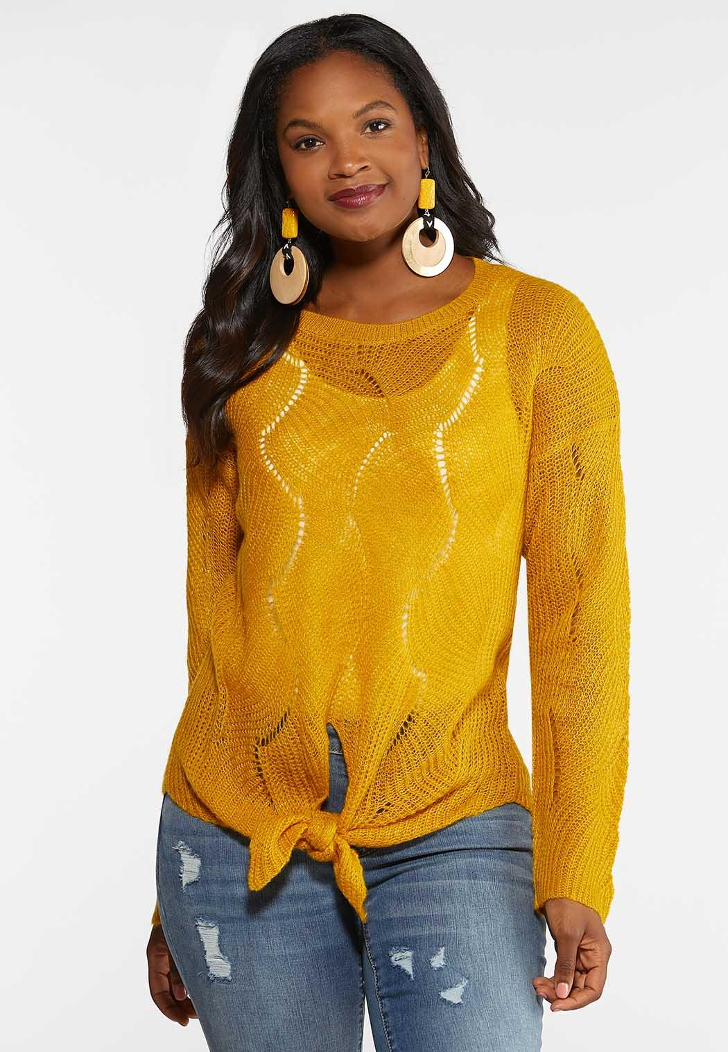 Plus Size Gold Tie Front Sweater