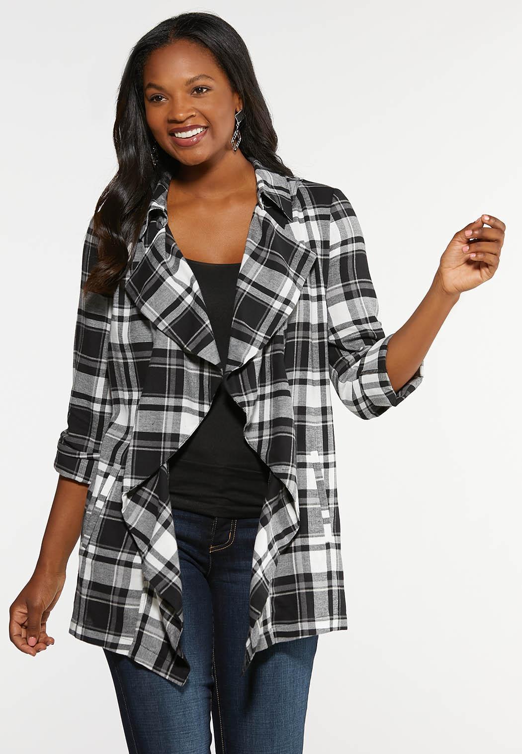Plus Size Black Plaid Drape Jacket