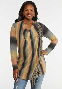 Plus Size Ombre Stripe Convertible Sweater