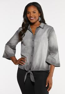 Gray Chambray Tie Top