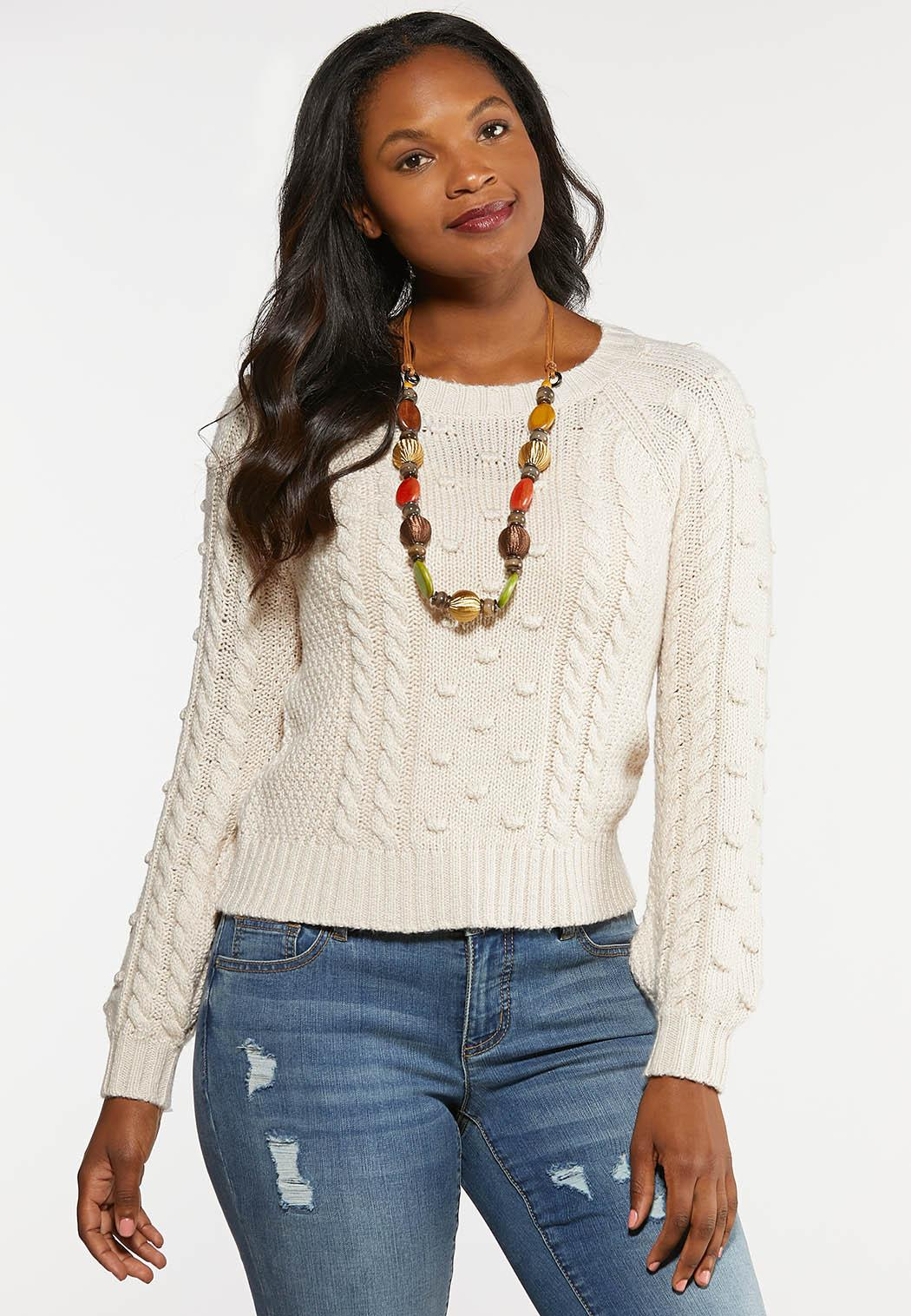 Plus Size Cable Dot Sweater