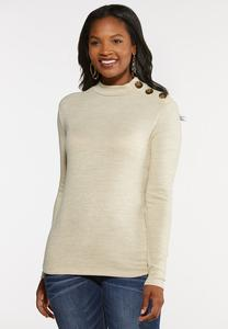 Plus Size Button Shoulder Mock Neck Top