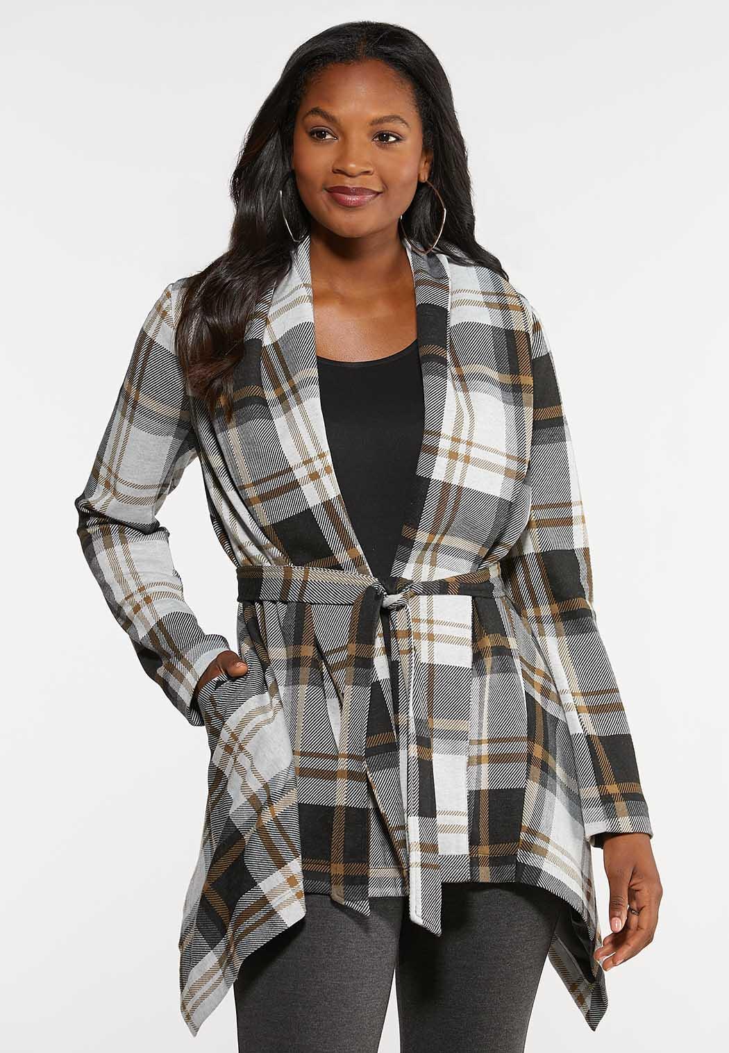 Plus Size Belted Plaid Jacket