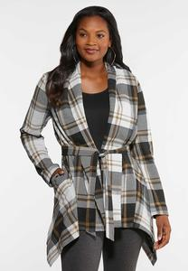 Plus Size Belted Plaid Jacket