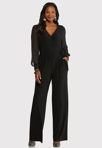 Plus Size Surplice Tie Jumpsuit
