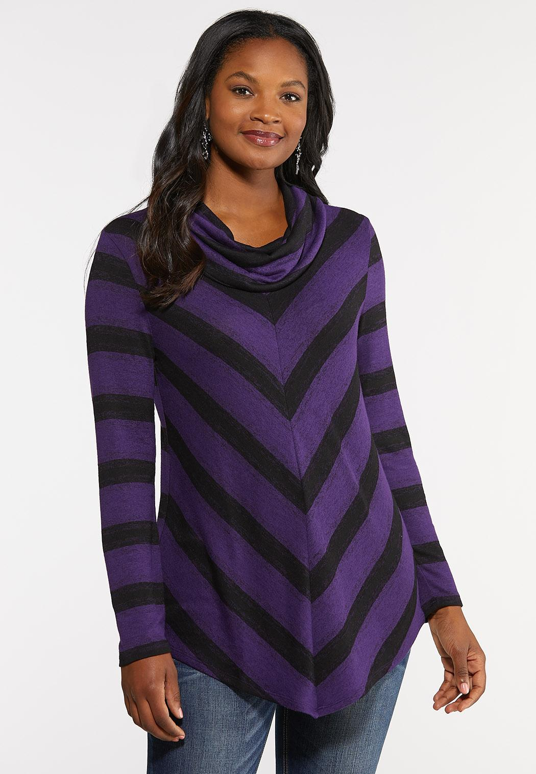 Plus Size Mitered Cowl Neck Top