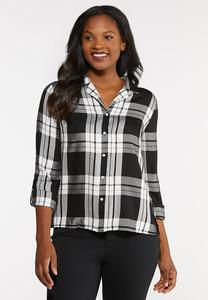 Plus Size Black Plaid Top