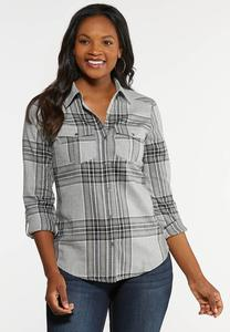 Plus Size Brushed Plaid Top