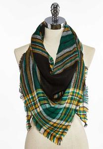 Festive Plaid Triangle Scarf