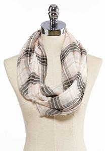 Blush Plaid Infinity Scarf