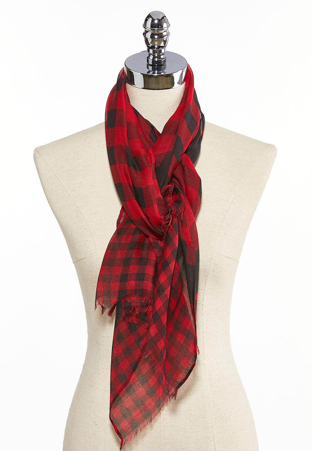Merry Plaid Oblong Scarf