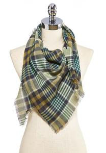 Frayed Plaid Triangle Scarf