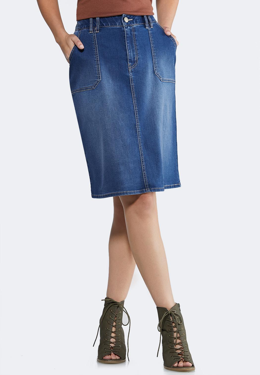 Plus Size Pocket Front Denim Skirt