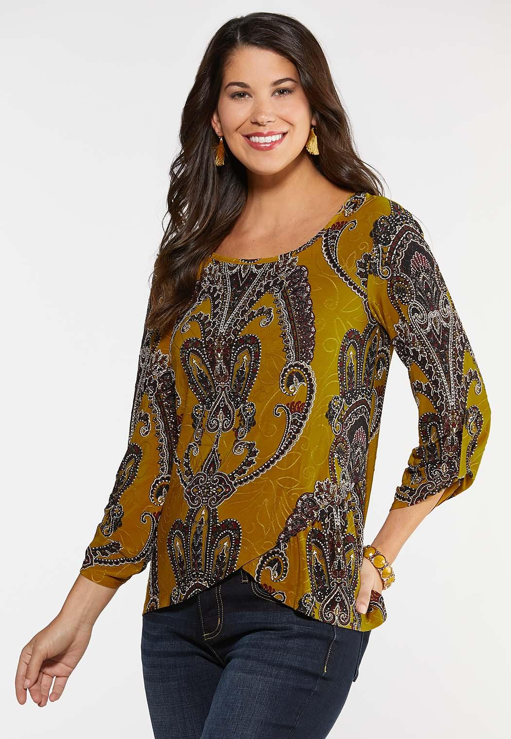 Gold Puff Paisley Top