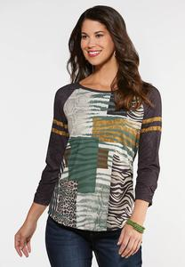 Plus Size Wild Patchwork Baseball Tee