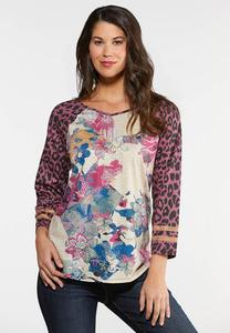 Floral Leopard Sleeve Top
