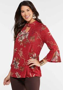 Plus Size Floral Sparkle Top