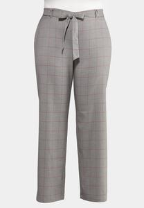 Plus Size Menswear Windowpane Pants