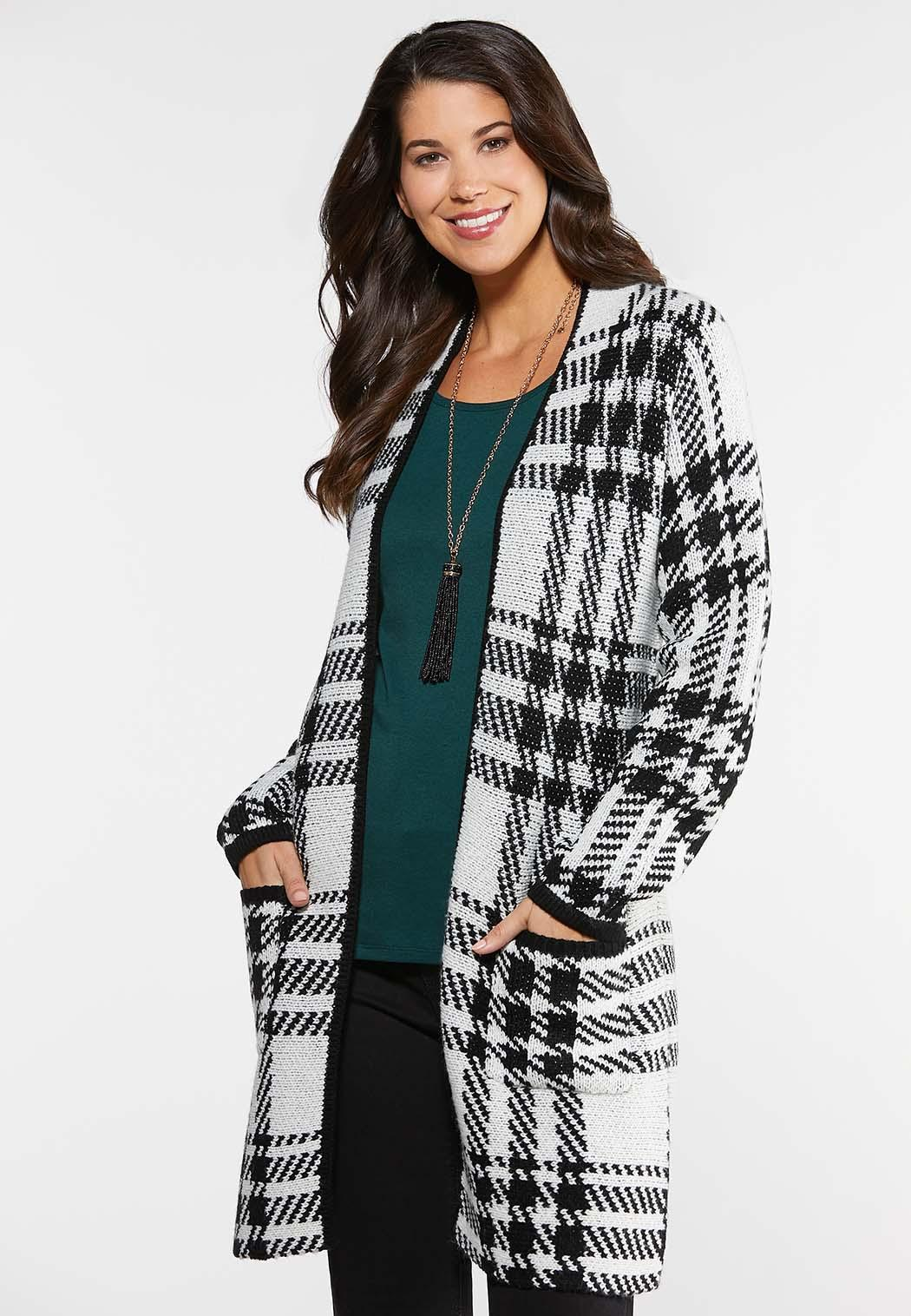 Plus Size Black And White Cardigan Sweater