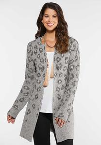 Plus Size Leopard Duster Cardigan
