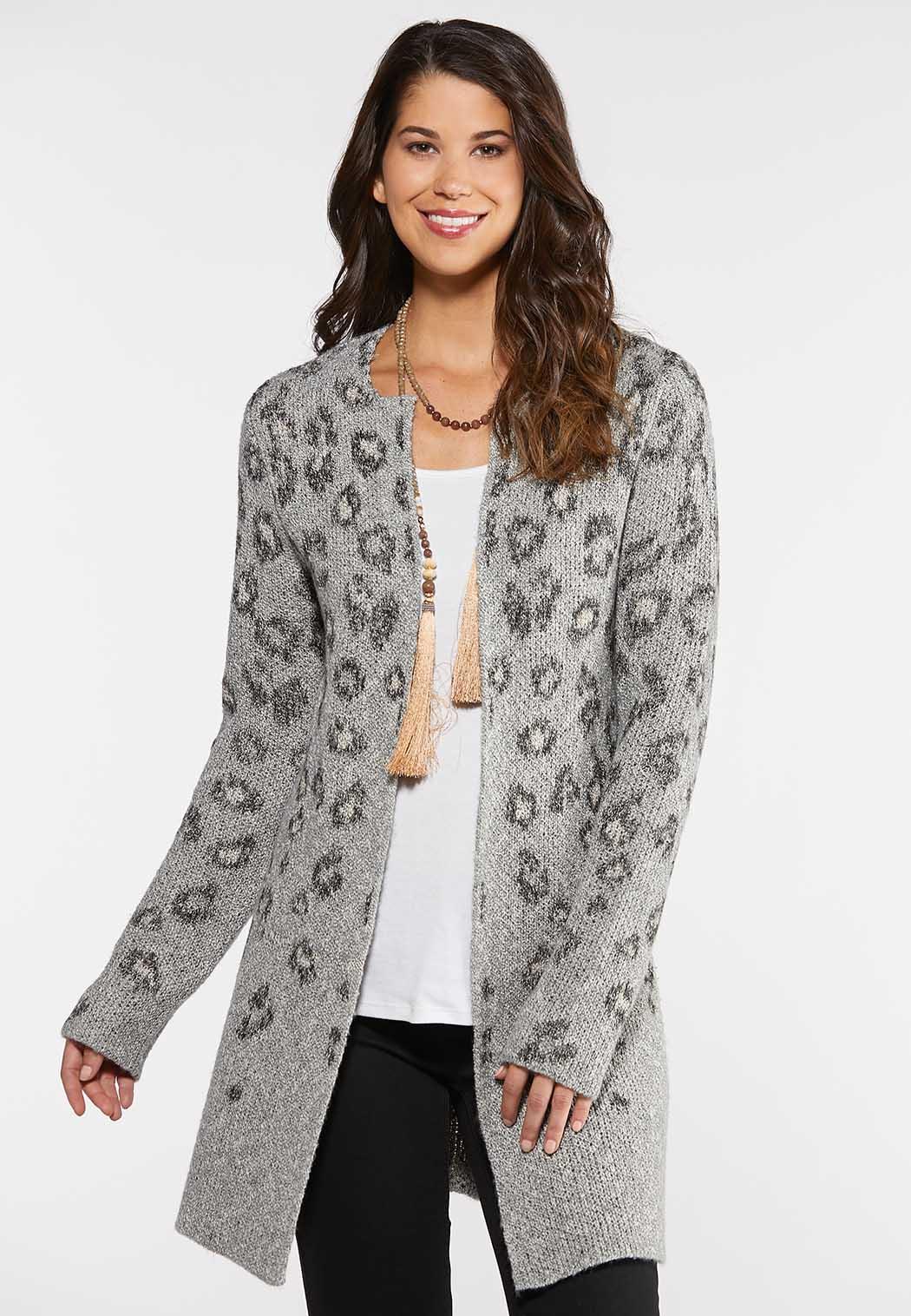 Plus Size Leopard Duster Cardigan Cardigans & Amp ; Shrugs Cato Fashions