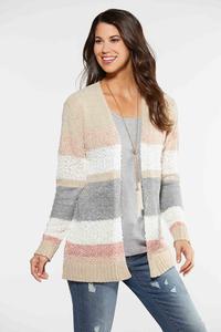 Plus Size Colorblock Chenille Cardigan
