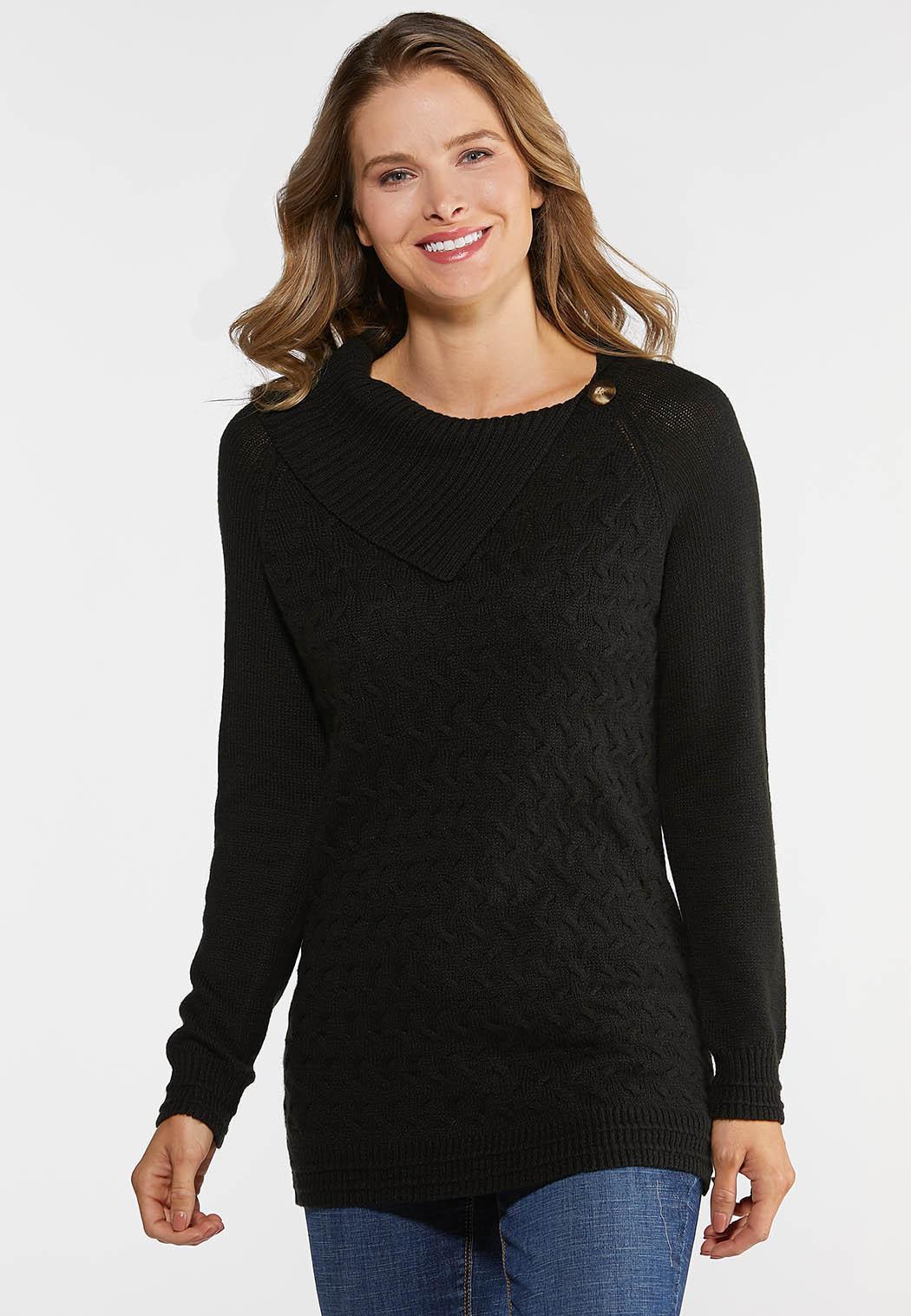 Plus Size Split Neck Button Sweater