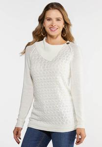 Plus Size Split Neck Button Sweater